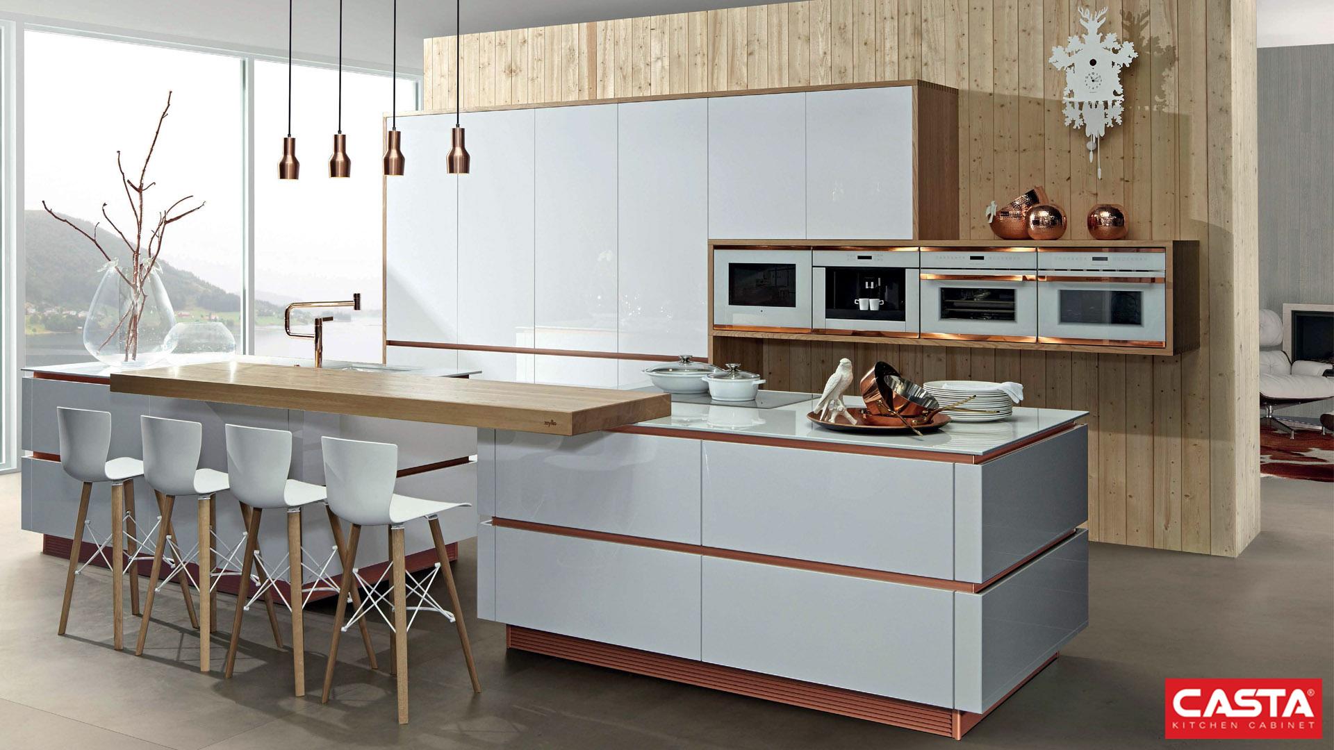 Màu sắc mang lại cảm giác tươi sáng cho không gian bếp